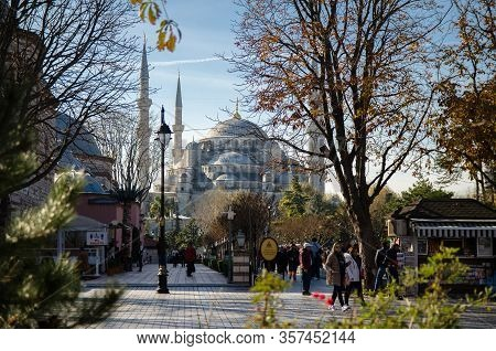 Istanbul, Turkey - November 25, 2017: People Walking Near Sultan Ahmet Camii Named Blue Mosque Turki