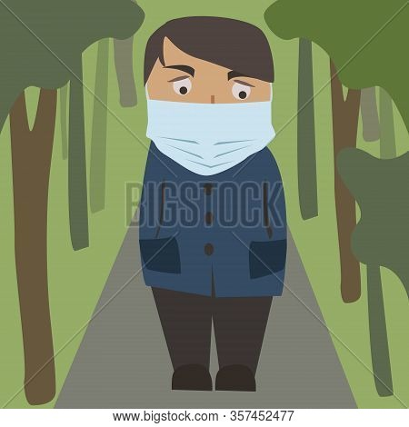 Man Wearing Protection Medical Face Mask And Walking In Public Park Street. Protection From 2019-nco