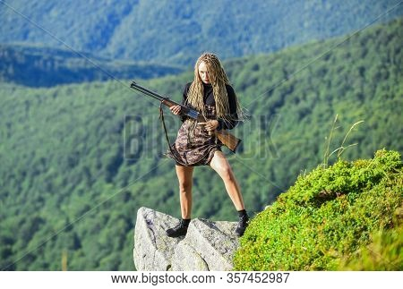 Waiting For Prey. Woman Assassin With Gun. War Time. Female Soldier. Army Sniper. Weapon Shop Concep