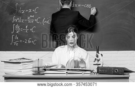 Study For Exams. Sensual Woman Teacher And Man Student Have Study Session Going. Centre For Study An