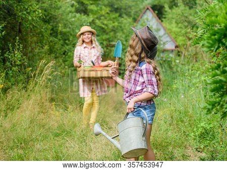 Loving Nature. Girls With Gardening Tools. Child Friendly Garden Tools Ensure Safety Of Child Garden