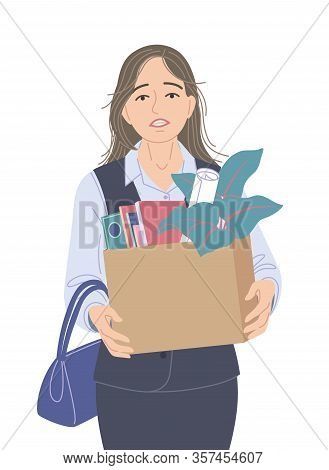 Dejected  Woman Dismissed From Her Job In Office. Fired Worker Carrying A Box Of Personal Belongings