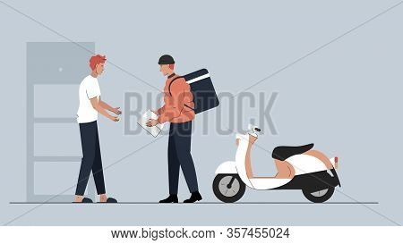 Vector Illustration Of A Delivery Guy With A Big Bagpack Driven By Scooter Handing Over A Package To
