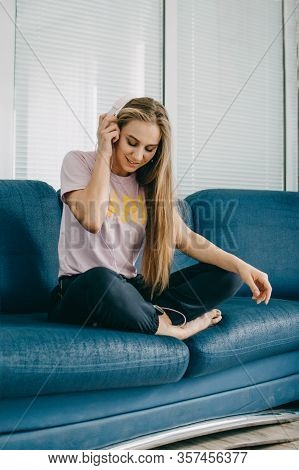 Mood Booster Playlist, Feel-good Songs Enjoy Music, Have Fun. Cheerful Young Blogger Girl Enjoy Favo