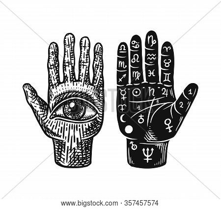 Mystical Magic Palmistry. Esoteric Or Alchemy Occult Sketch For Tattoo. Fate In The Palm Of Your Han