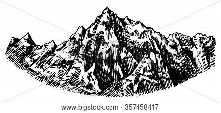 Alps Mountains. Chamonix-mont-blanc Peaks. Vintage Rock, Old Highlands Range. Hand Drawn Vector Outd