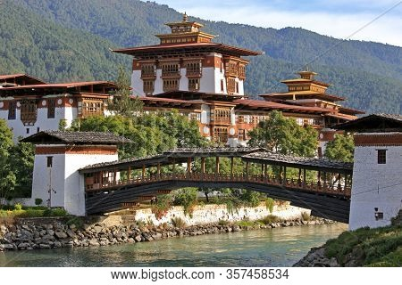 Punakha Dzong in Punakha Bhutan. It is the second oldest and second largest dzong in Bhutan and one of its most majestic structures.