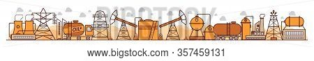 Vector Oil Industry Illustration. Environmental Risks And Pollution, Ecosystem. For Background, Layo