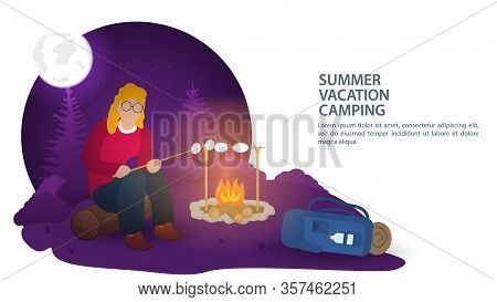Banner, For The Design Of A Summer Camping In Nature , A Girl At Night Sitting On A Log, In The Wood