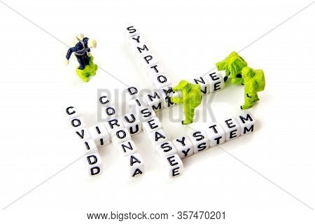 The Title Made Of Miniature White Dices With Black Letters Of Very Dangerous Deadly Corona Virus Typ