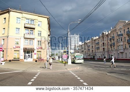 Gomel / Belarus - May 20, 2018 :  Crossroad In City. Rain Clouds Looming Over Town. City Life. Urban