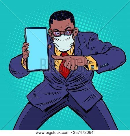 An African Businessman In Quarantine Recommends Online Communication. Pop Art Retro Vector Illustrat