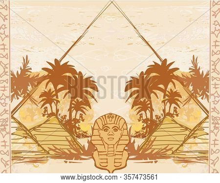 Abstract Grunge Frame - Great Sphinx Of Giza , Vector Illustration