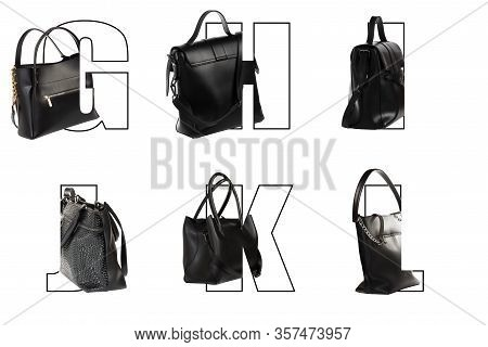 Art Letters Of The Alphabet G H I J K L For Text Design With Inscribed Women Bags In Different Color
