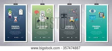 Vector Set Of Vertical Web Banners With Financial Schedule, Accounting Services, Business Statistics