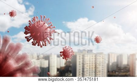 Coronavirus Outbreak Covid-19. 3d Illustration. Pathogen Respiratory Influenza Covid Virus Cells. Da