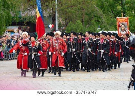 Anapa, Russia - May 9, 2019: Cossacks At The May 9 Victory Day Parade In Anapa Russia