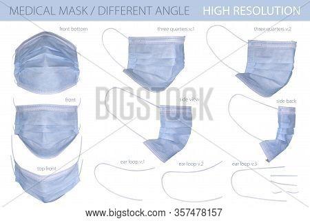 Medical Mask Isolated On White Background, Isolated Mockup. Medical Mask Whith Clipping Mask. Surgic