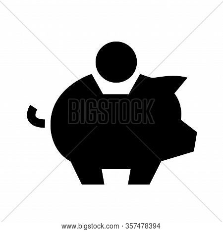 Black Piggy Bank Savings Symbol. Banking Concept. Money Save Icon. Economic Growth Sign. Cash Income