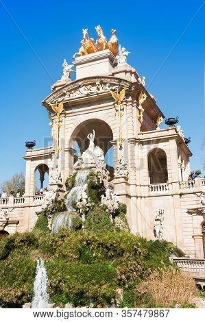 Barcelona, Spain - February 23, 2020: Fountain In Parc De La Ciutadella By Josep Fontsere Called Cas