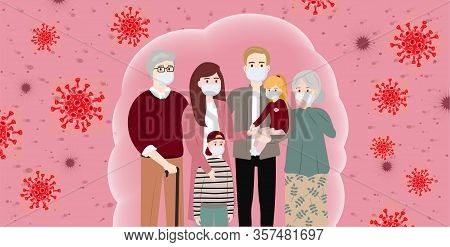 The Whole Family Wearing Protective Medical Mask. Coronavirus Protection (covid-19). Concerned Peopl