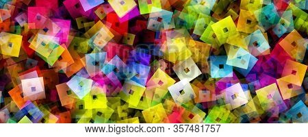 Abstract Colorful Square Panorama Background Design Illustration