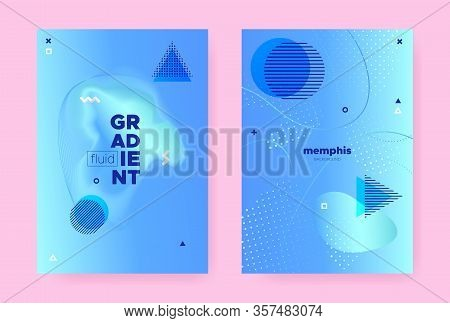 Pastel Abstract Memphis Gradient. Summer Flow Design. Wave Cover. Graphic Geometric Template. Abstra