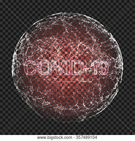 Corona Virus 3d Polygonal Text Covid-19. Virus Infections Epidemic Banner On Black Background. Vecto