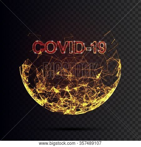 Corona Virus 3d Polygonal Text Covid-19. Virus Infections Epidemic Banner On Blue Background. Vector