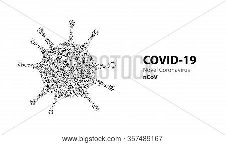 Corona Virus Halftone Particle Bacteria With Text Covid-19. Virus Infections Epidemic Banner Isolate
