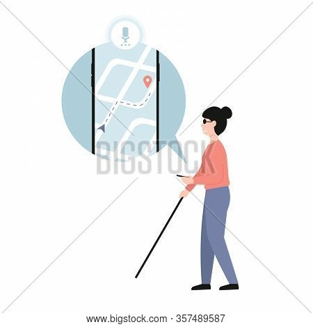 Blind Woman Holding Stick. Mobile Application Assistant For Blind People. Disabled Female With Blind