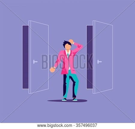 Man Before Choosing Of Way And Deciding Direction Metaphor. Two Doors And Guy With Dilemma.