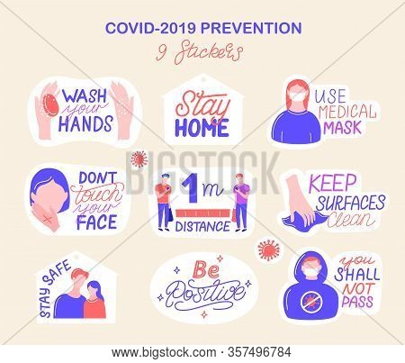 Coronavirus Covid-19 Prevention. 9 Hand Drawn Stickers Pack How To Protect Yourself From Infection,