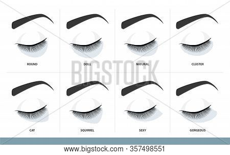 Eyelash Extension Style Chart.  Different Eyelash Extension Types And Shapes For Most Attractive Loo