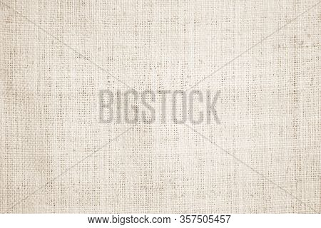 Cream Abstract Hessian Or Sackcloth Fabric Or Hemp Sack Texture Background. Beige Wall Of Artistic W