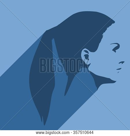 Face Side View. Elegant Silhouette Of A Female Head. Web Icon With Long Shadow