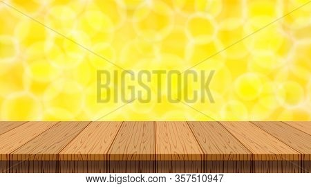 Wood Plank On Yellow Gold Bokeh For Copy Space Background, Blank Table Top Wooden Brown On Gold Boke