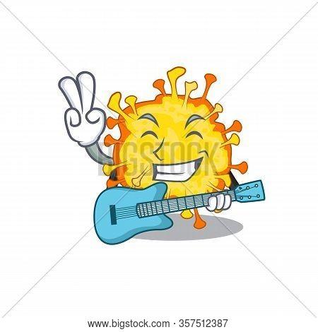 Supper Cool Minacovirus Cartoon Playing A Guitar