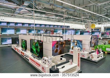BERLIN, GERMANY - CIRCA SEPTEMBER, 2019: interior shot of Media Markt store at Schultheiss Quartier in Berlin.