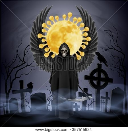 Illustration Of Angel Of Death With A Scythe And Black Wings On The Grave Yard. Apocalypse And Hell