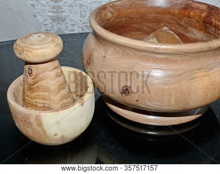 Table Wooden Mortar With Pestle Made From White Acacia And Wooden Bread Box From Karagach. Kitchen U