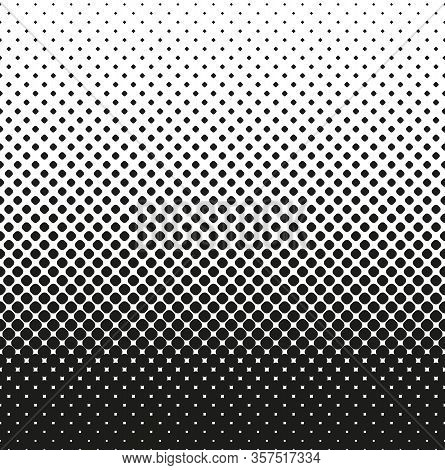 Horizontal Seamless Halftone Of Rounded Squares Decreases Up, On White Background. Contrasty Halfton