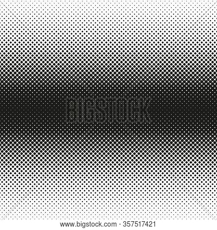 Horizontal Seamless Halftone Of Rounded Squares Decreases To Edge, On White Background. Contrasty Ha