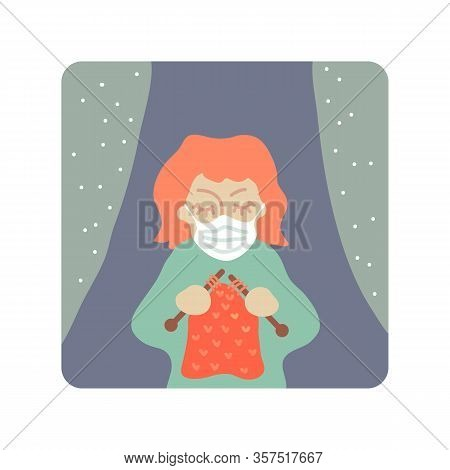 Cute Girl With Face Mask. Covid-19 Conceptual Vector Illustration. Protection From Coronavirus Or Re