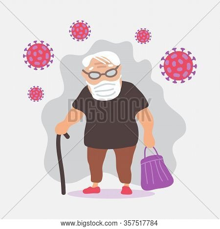 Elderly Man With Face Mask. Covid-19 Conceptual Vector Illustration. Protection From Coronavirus Or