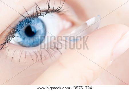 beautiful human eye and contact lens