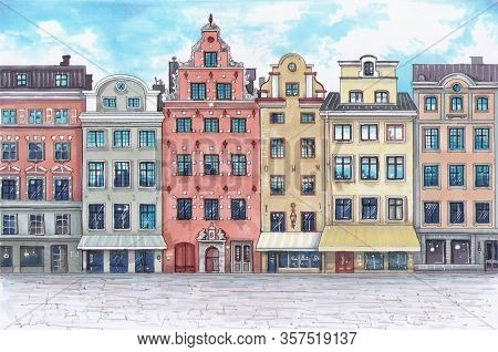 Stockholm - Stortorget Place In Gamla Stan. Highly Detailed Color Illustration With Markers Of An Ol