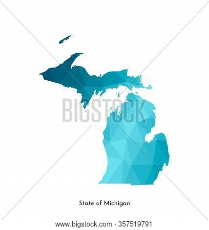 Vector Isolated Illustration Icon With Simplified Blue Map Silhouette Of State Of Michigan (usa). Po