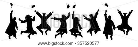 Jumping Graduates Throw Square Academic Caps. Silhouette Of Graduation. Vector Illustration.