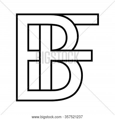 Logo Sign Bf Fb Icon Sign Two Interlaced Letters B, F Vector Logo Bf, Fb First Capital Letters Patte